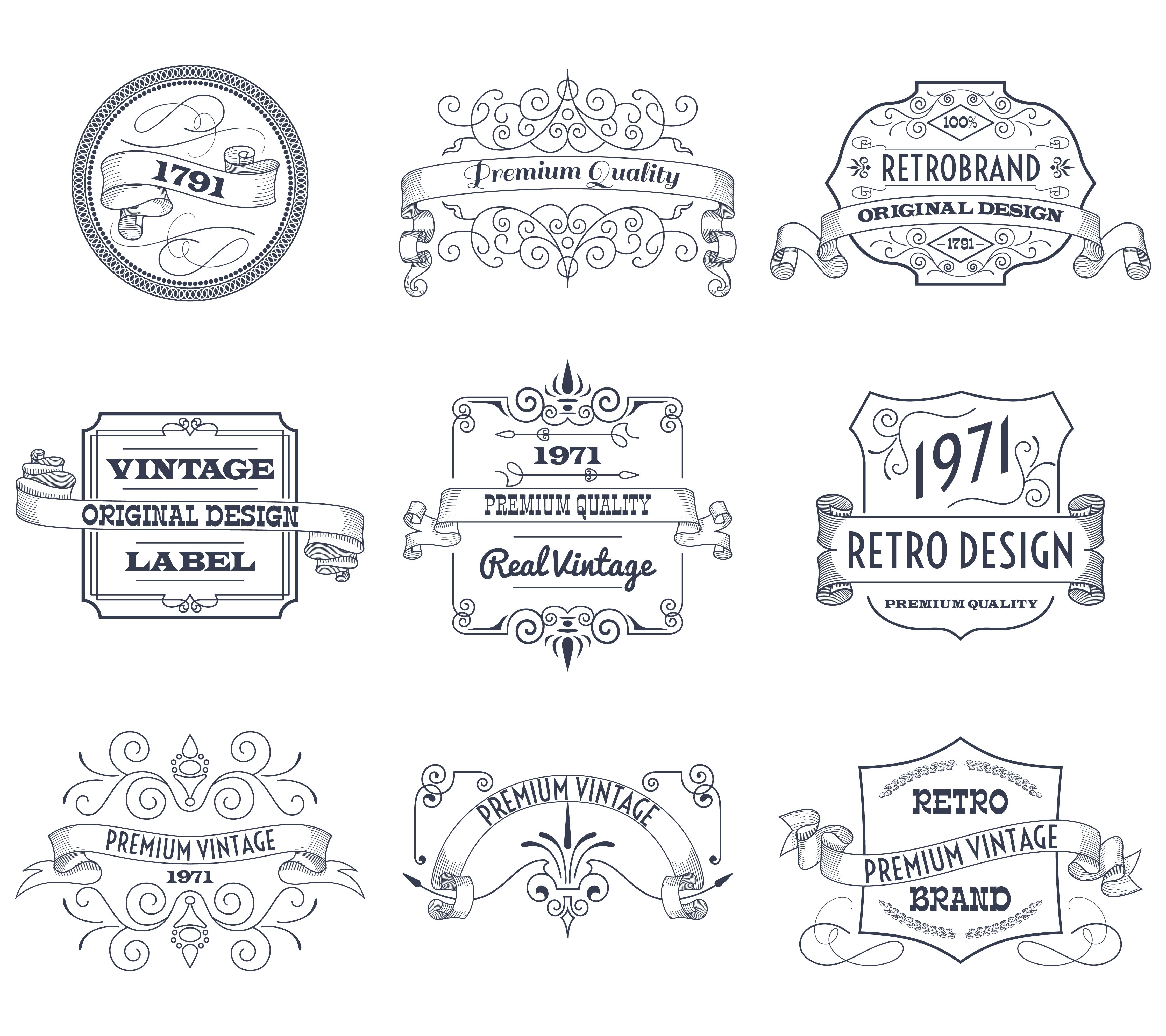 Vintage Premium Product Flat Badges Set