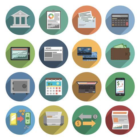 bank pictogrammen platte set