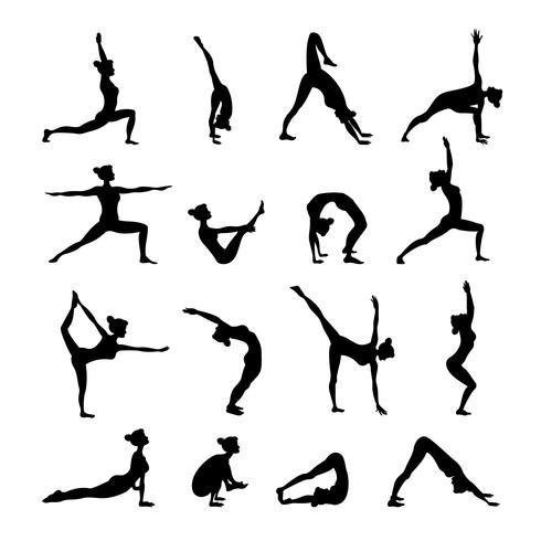 Set de yoga noir vecteur