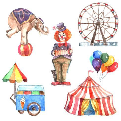 Aquarel Circus Set vector