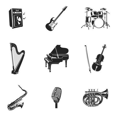 Set di strumenti musicali e attrezzature vettore