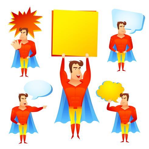 Superheld-Zeichentrickfilm-Figur mit Sprechblasen
