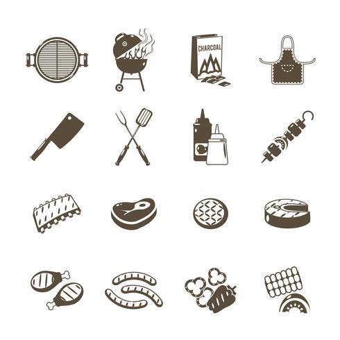 Barbecue en Grill pictogrammen zwarte instellen