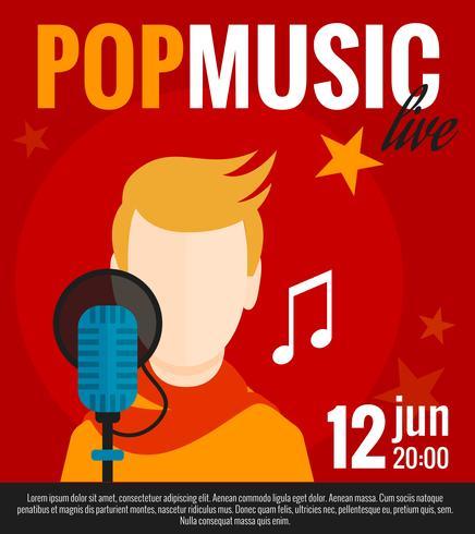 Cartel plano de cantante pop vector