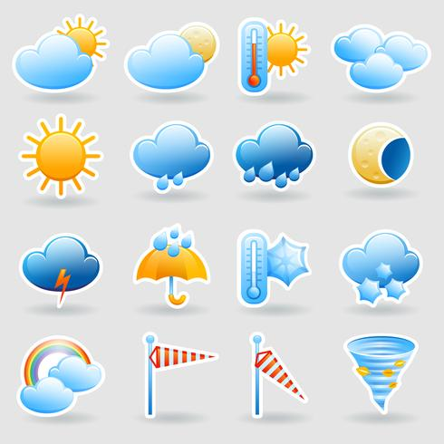 Weather forecast symbols icons set
