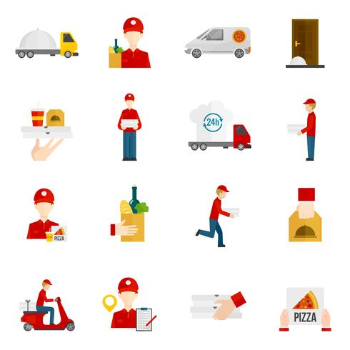 Food delivery icons set