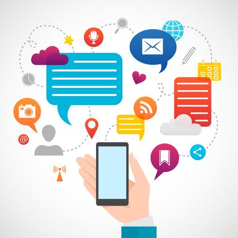 Red social móvil concepto de medios.
