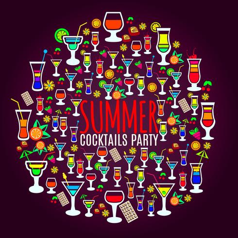 Tropical cocktails vacation party poster  vector