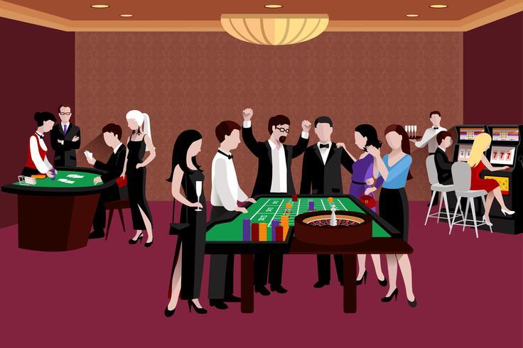 Leute in der Kasino-Illustration