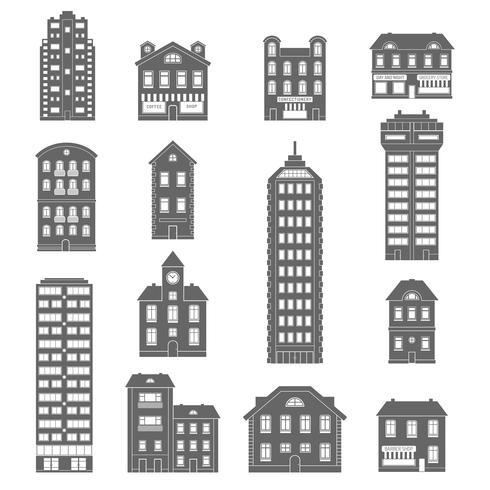 Huis pictogrammen zwart