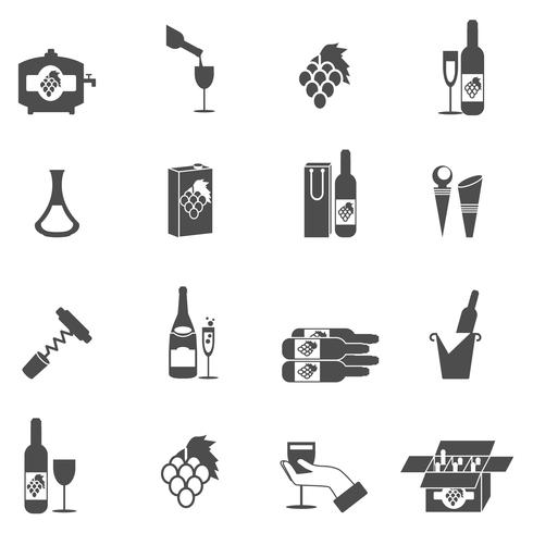 Conjunto de ícones de vinho vetor