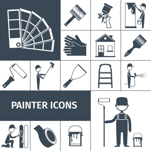 Painter icons set black