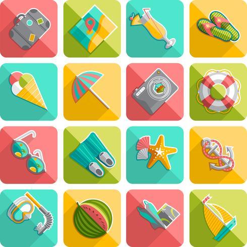 Sommar semester ikoner platt diagonal snedställd vektor