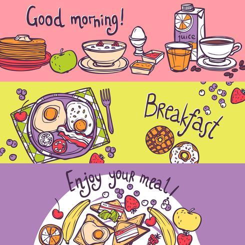 Set de pancartas de desayuno vector