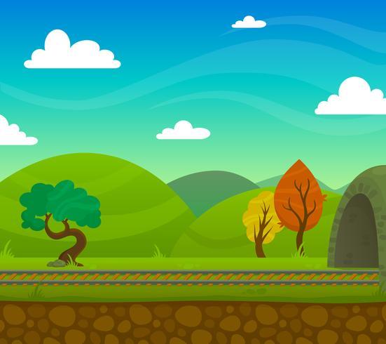 Spoorweg landschap illustratie