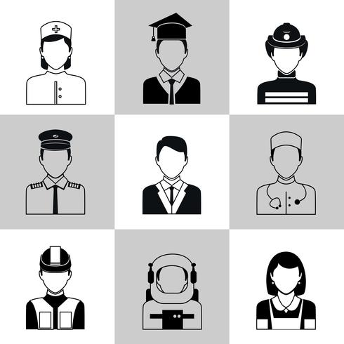 Profissões avatar ícones conjunto preto