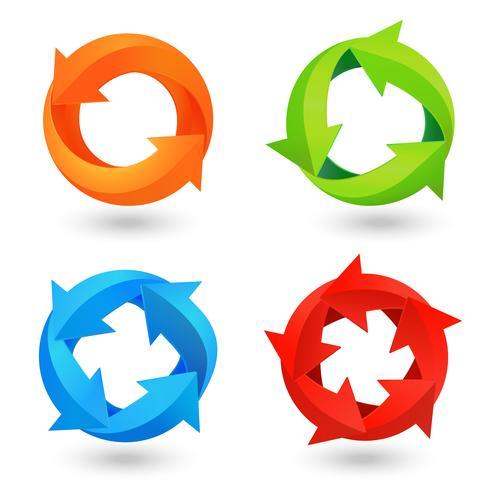 Conjunto de iconos de flecha de círculo vector