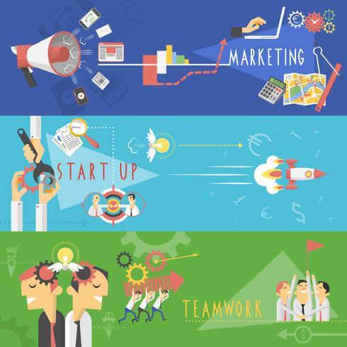 Conjunto de banners planos de marketing de negocios