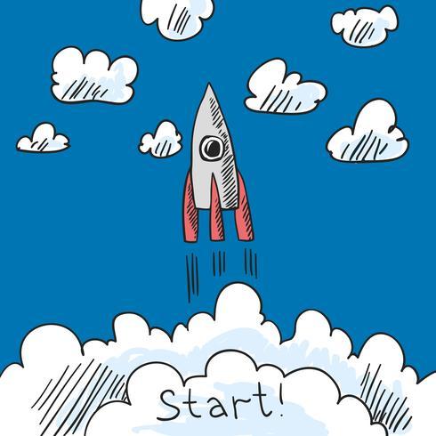 Esbozo de cartel de cohete vector