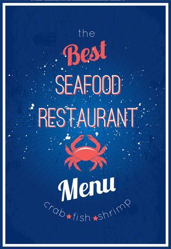Menú del restaurante de mariscos vector