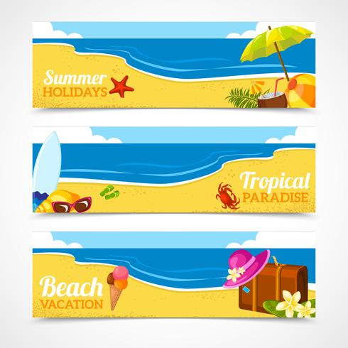 Banner conjunto de playa de verano vector