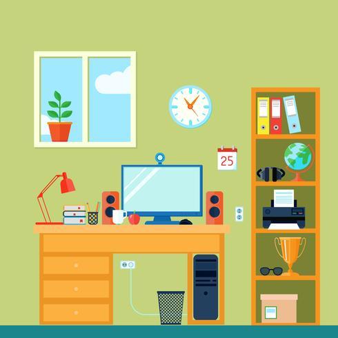 Espacio de trabajo en la habitación vector