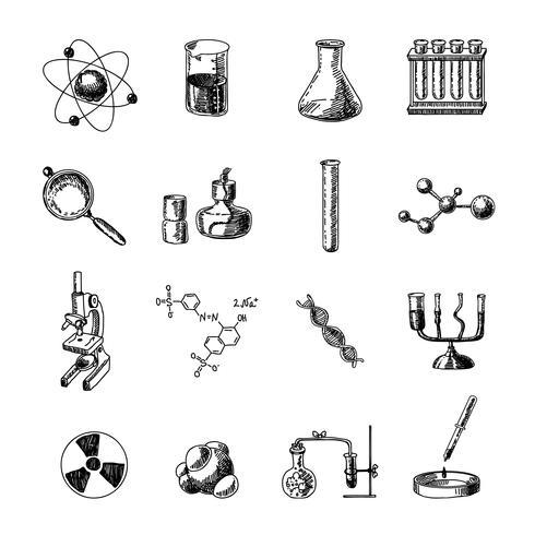 Kemi ikoner uppsättning