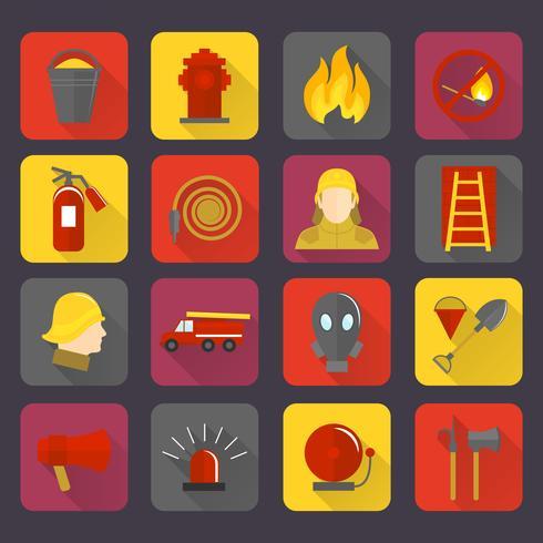 Set di icone antincendio vettore