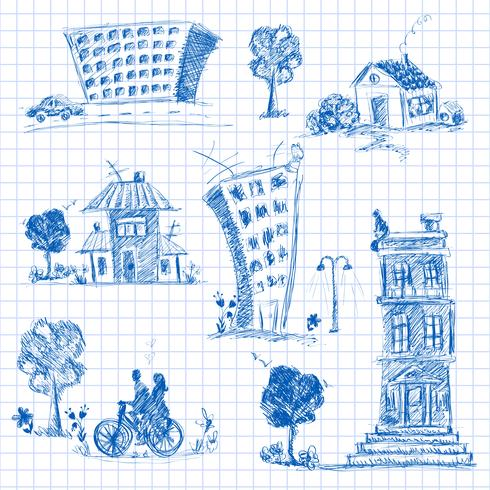 Conjunto de doodle de la ciudad vector
