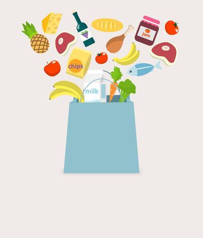 Tas met etenswaren vector