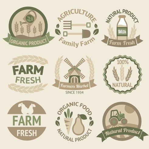 Cosecha agrícola y etiquetas agrícolas. vector