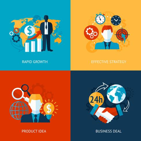 Business and management set vector