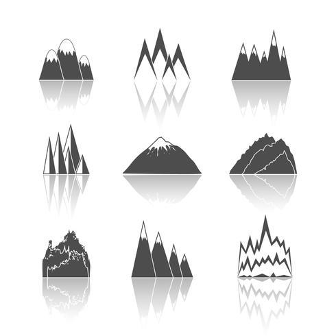 Conjunto de iconos de pictogramas de montañas vector
