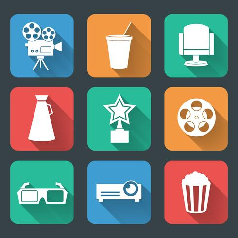 Colección de pictogramas de entretenimiento cinematográfico. vector