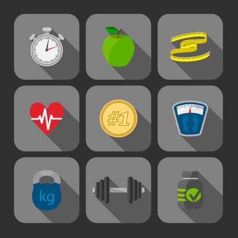 Fitness exercises progress icons set vector