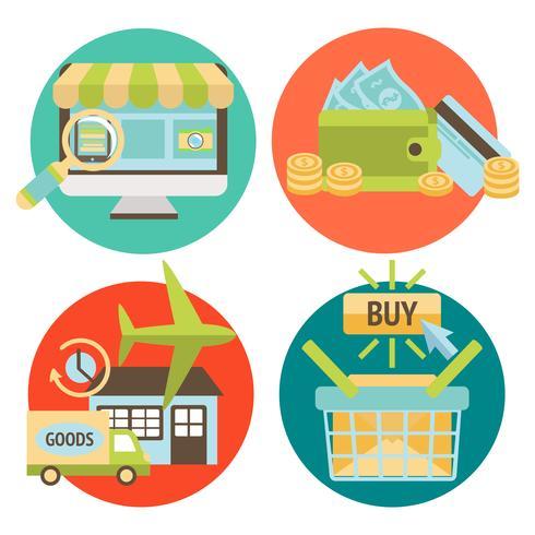 Online Shopping Business Ikoner Set vektor