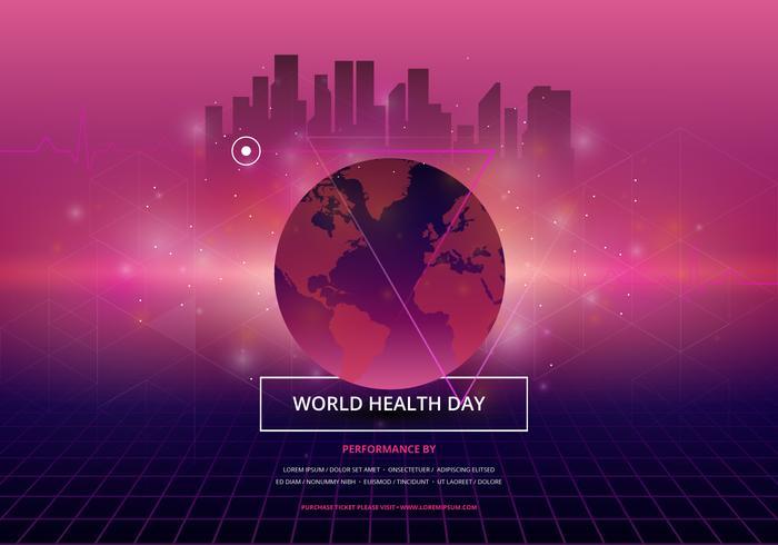 Wereldgezondheidsdag in Retrowave Newwave-illustratie