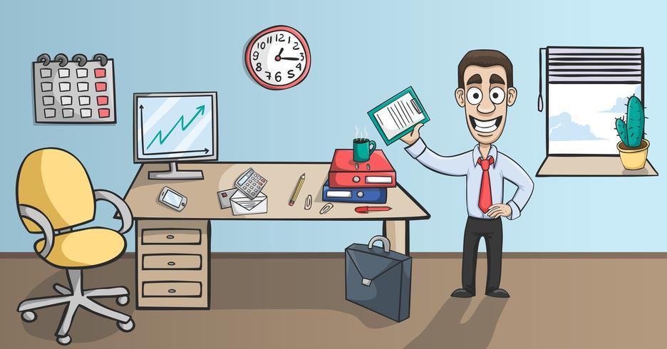 Carácter de hombre de negocios en el interior de la oficina