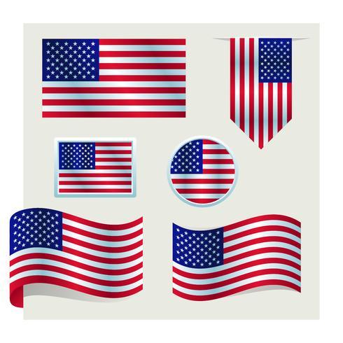 conjunto de la bandera americana vector