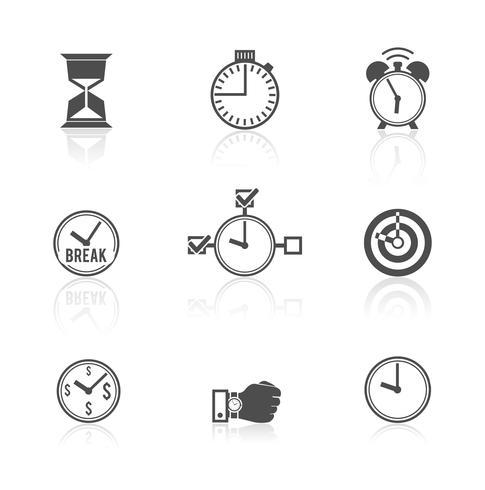 Conjunto de iconos de reloj de gestión de tiempo