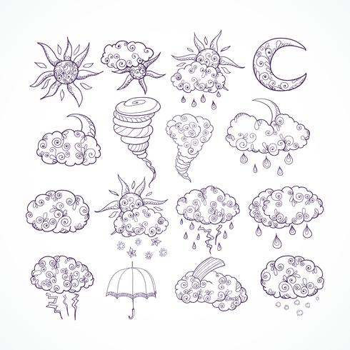 Symboles graphiques de prévisions météo Doodle