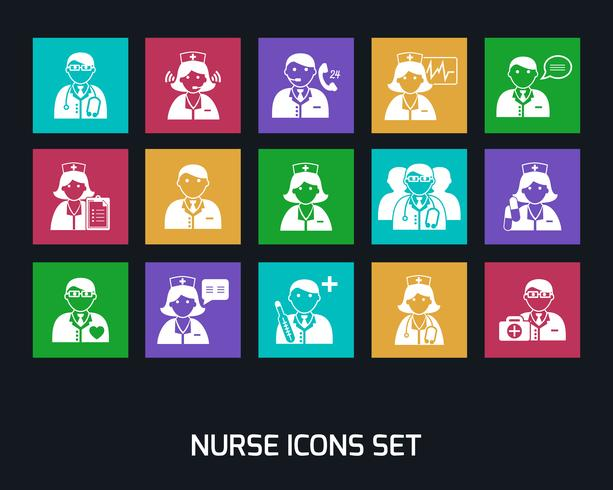 Medicina médicos y enfermeras iconos conjunto vector
