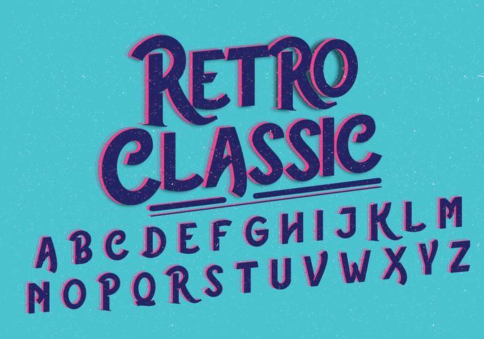Vector alfabeto retro clásico