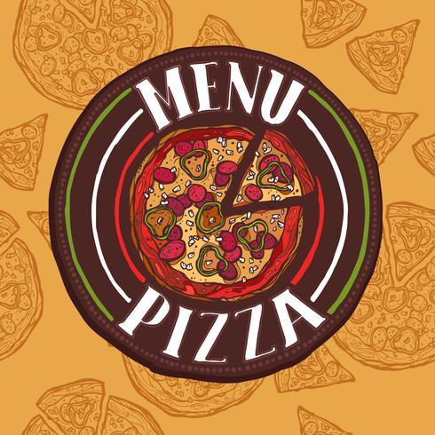 Menu di schizzo di pizza vettore