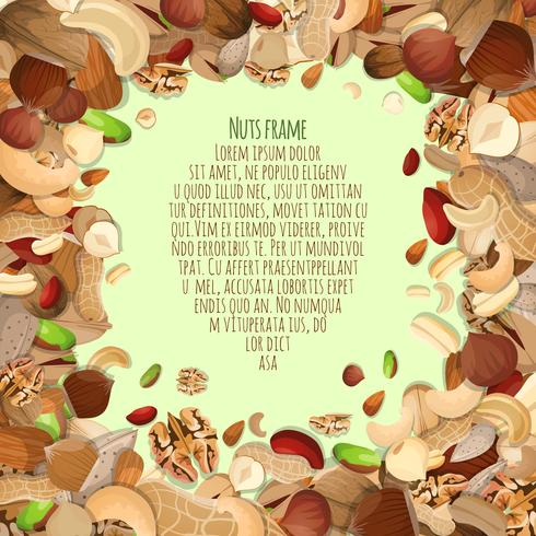 Nuts decorative frame vector