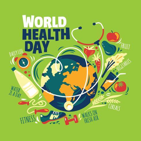Ilustración del día mundial de la salud con estilo de vida saludable y fondo de la tierra