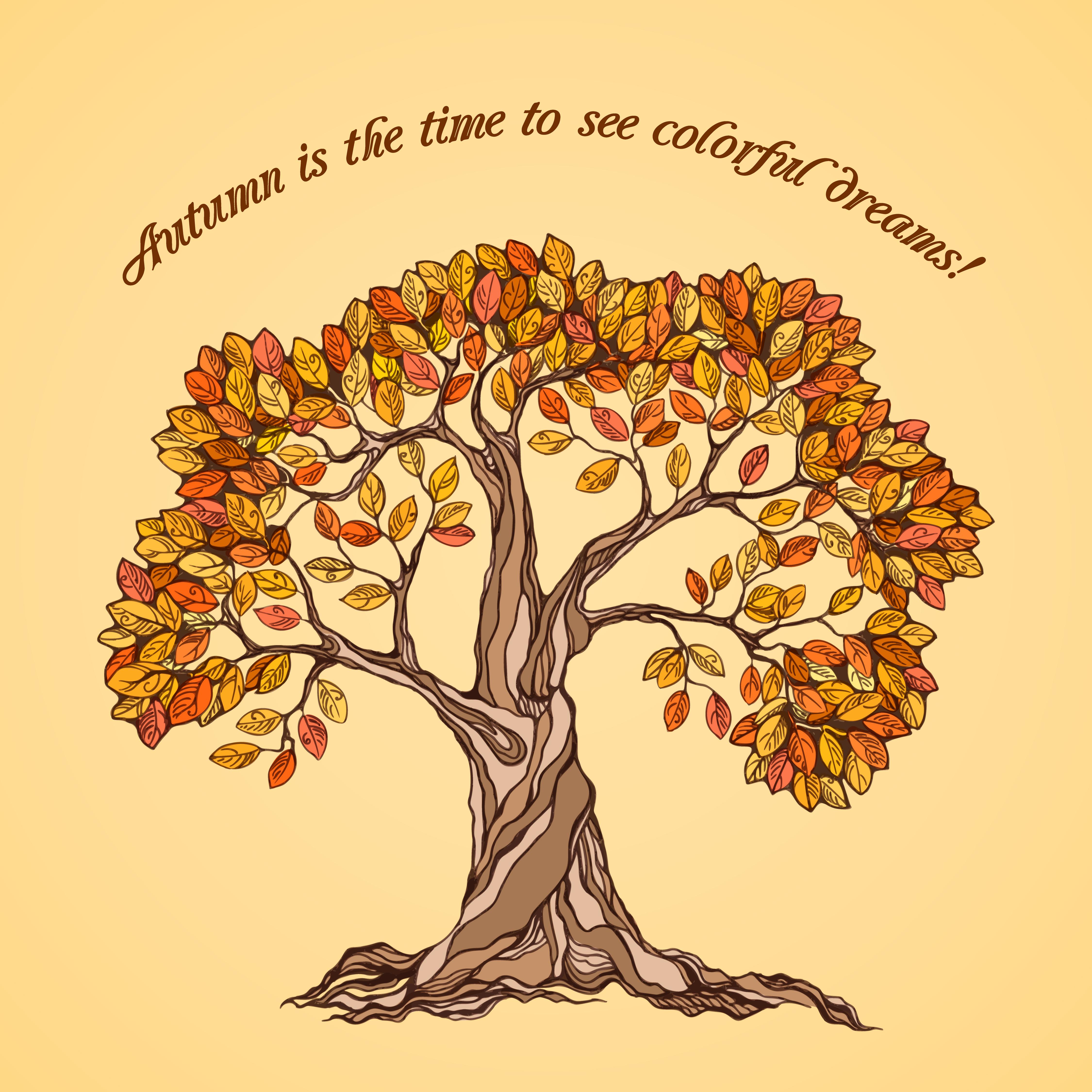 Autumn tree poster - Download Free Vectors, Clipart ...