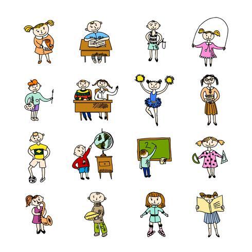 Uppsättning doodle barn