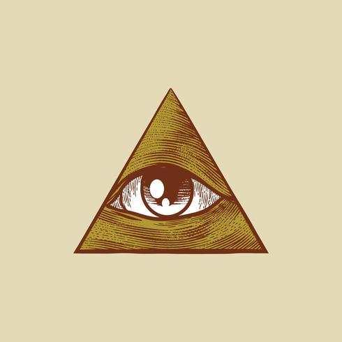 Ojo dibujado mano plana vintage en forma de triángulo