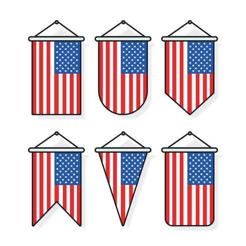 Outlined American Flags